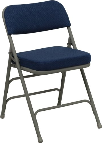 Flash Furniture HERCULES Series Premium Curved Triple Braced & Double Hinged Navy Fabric Metal Folding Chair Triple Fabric