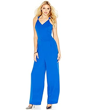 Guess Womens Blue V-neck Criss-cross Back Pleated Jumpsuit Size 10