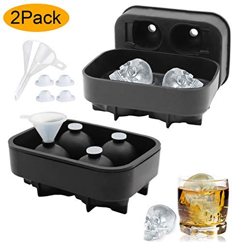 Skull Ice Mold, Easy Release 3D Silicone Ice Cube Trays Bonus Funnels Plugs ATOZEDO Shaped Ice Cube Maker for Halloween (2 Pack)