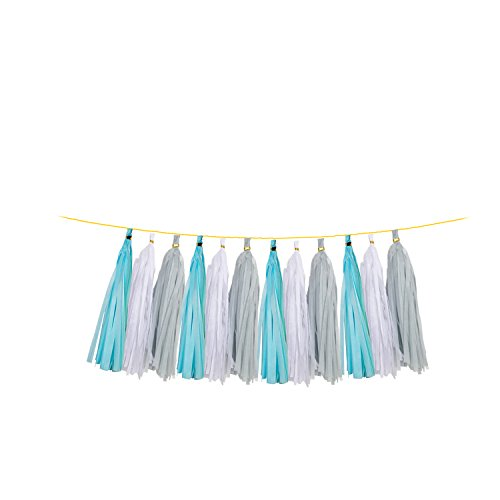 Umiss 23pcs Party Tissue Pom Poms Tissue Flowers Baby Blue White Grey Baby Boy Shower/Party Paper Decorations First Birthday Boy Tissue Flowers Tassel Garland Circle Paper Baby Shower Decorations Photo #4