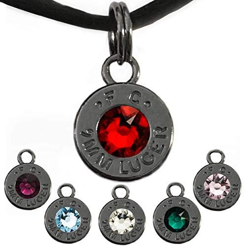 (Bullet Cartridge Pendant, Swarovski Crystal Options (January-June Birthstone Theme) - Black Rhodium Plated Charm, 9mm Ammo Shell Jewelry)