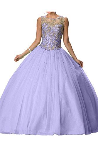 Romantisch Lavendel Festkleider Tuell Abendkleid Lang Ivydressing Rundkragen Ballkleid Damen pzwq44