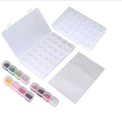 2 Pack 28 Grids Storage Box Diamond Embroidery Box Clear Plastic Storage Box Adjustable Storage Boxes with 128 Pcs Craft Label Marker Sticker