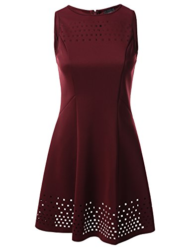 Laser Cut Tank Dress (Mossimo Women's Fit and Flare Laser Cut Tank Sheath Dress Burgundy Size L)