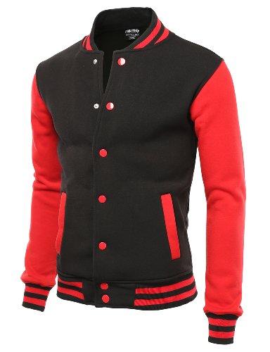 Doublju Men's Raglan Baseball Jacket with Pockets