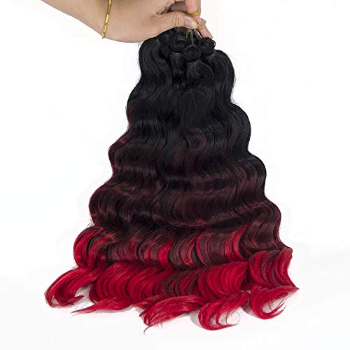 Ocean Twist - 20inch Ocean Wave Crochet Braids Wavy Ombre Deep Twist Braiding hair Synthetic Hair Extensions (5Packs,Black/BUG/RED)