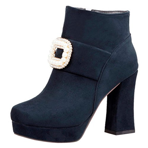 RAZAMAZA Women Fashion Rhinestones Decor Block High Heel Ankle Booties Blue XPZMt03yt