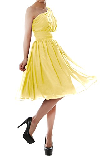 Cocktail Gown Shoulder Dress MACloth Canary Chiffon One Women Short Bridesmaid Party gTcg0OSwq
