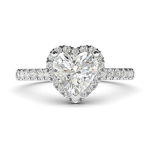 Heart Shaped Diamond Solitaire Rings - 14k White Gold Simulated Heart-shaped Diamond Halo Engagement Ring with Side Stones Promise Bridal Ring (8)