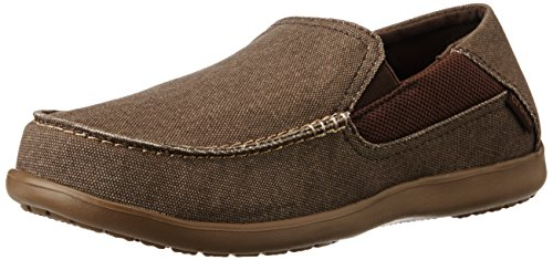 crocs Men's Santa Cruz 2 Luxe Slip-On Loafer, Espresso/Walnut, 13 M US -
