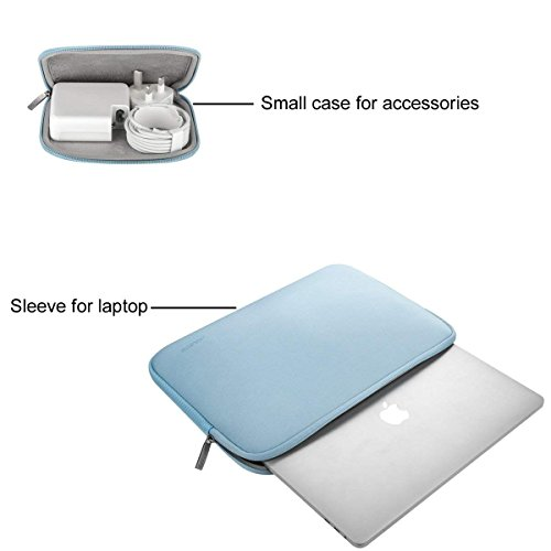 MOSISO Laptop Sleeve Compatible with 2018-2020 MacBook Air 13 inch A2179 A1932, 13 inch MacBook Pro A2251 A2289 A2159 A1989 A1706 A1708, Water Repellent Neoprene Bag with Small Case, Airy Blue