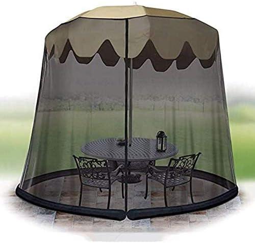 庭の傘太陽パラソルテーブル蚊帳カバー画面バグ網カバー3 M直径、パティオテーブル傘ガーデンデッキ家具ジッパー式メッシュエンクロージャカバー