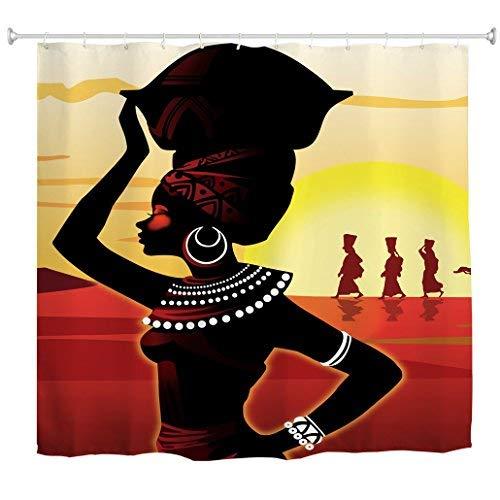 Goodbath Black Woman Shower Curtain, African Women Afro Lady Girls Waterproof Fabric Bathroom Curtains, Standard Size 72 x 72 Inch, Red Black