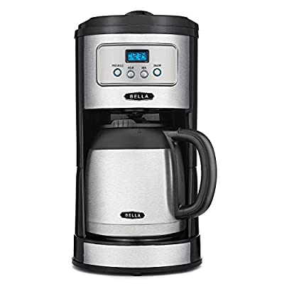 BELLA Classics 10 Cup Thermal Carafe Programmable Coffee Maker, Bold Brew Stainless and Chrome