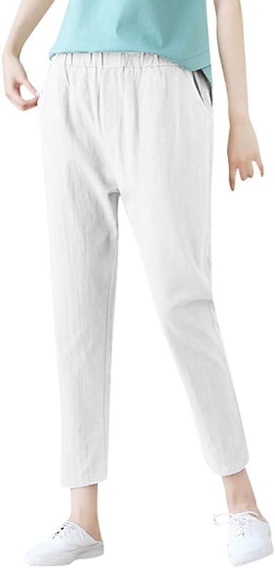 TUDUZ Mujer Pantalones De Algodón Y Lino Pantalones Color Sólido Delgados Pantalones: Amazon.es: Ropa y accesorios