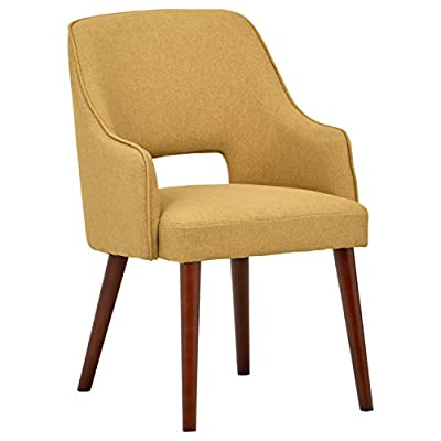 """Amazon Brand – Rivet Malida Mid-Century Modern Open Back Kitchen Dining Room Accent Chair, 22.8""""W, Canary - A cut-out back and tapered legs give this accent chair a classic mid-century modern design. Plenty of padding makes it sturdy and comfortable to use in the dining room or anywhere else extra seating is needed. 22.8""""W x 22.1""""D x 33.1""""H; Seat Height is 18.5"""" Fabric is 100% polyester. Hardwood legs with espresso finish. - kitchen-dining-room-furniture, kitchen-dining-room, kitchen-dining-room-chairs - 41nHitz2B4L. SS400  -"""