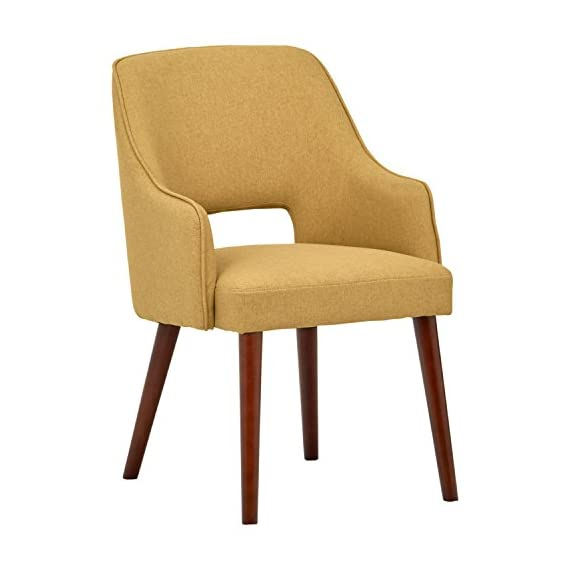 """Amazon Brand – Rivet Malida Mid-Century Modern Open Back Kitchen Dining Room Accent Chair, 22.8""""W, Canary - A cut-out back and tapered legs give this accent chair a classic mid-century modern design. Plenty of padding makes it sturdy and comfortable to use in the dining room or anywhere else extra seating is needed. 22.8""""W x 22.1""""D x 33.1""""H; Seat Height is 18.5"""" Fabric is 100% polyester. Hardwood legs with espresso finish. - kitchen-dining-room-furniture, kitchen-dining-room, kitchen-dining-room-chairs - 41nHitz2B4L. SS570  -"""