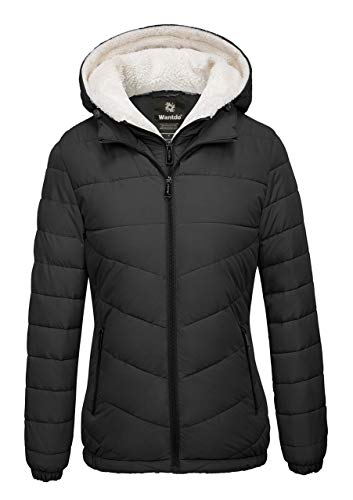 Wantdo Women's Winter Coats Hooded Windproof Puffer Jacket Black Medium