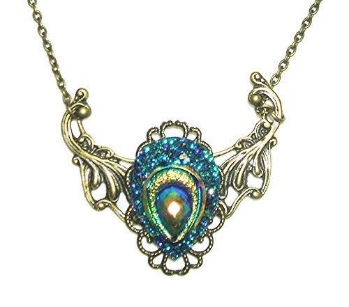 VICTORIAN NECKLACE Carnival Colors PEACOCK FEATHER Antique Bronze