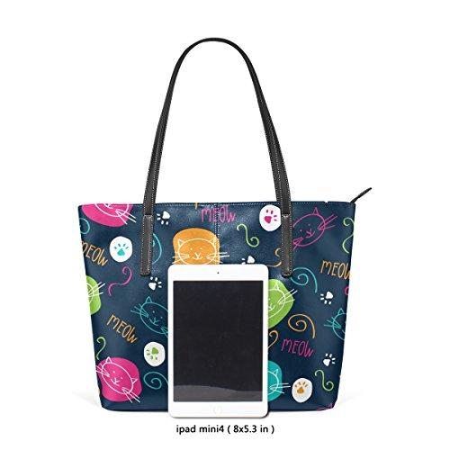 COOSUN Cute Cats Cartoon Muster PU Leder Schultertasche Handtasche und Handtaschen Tasche für Frauen