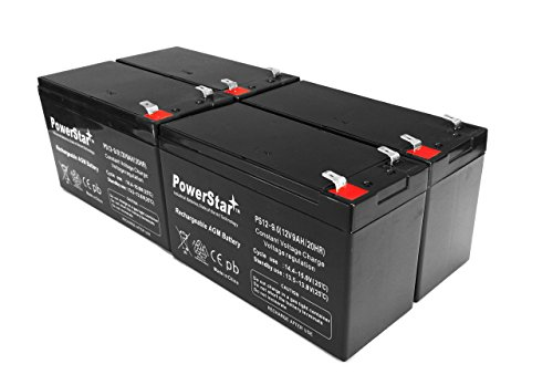 PowerStar 12V 9AH SLA Battery Replaces CP1290 6-DW-9 HR9-12 PS-1290F2 - 4PK by PowerStar