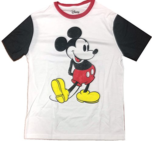 Mickey Mouse Classic Ringer Distressed Adult T-Shirt XL White