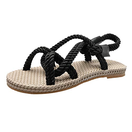 (Dressin Women's Flat Sandals Womens Beach Casual Outdoor Boho Shoes Rope Straw Soles Shoes Ladies Sandals Black)
