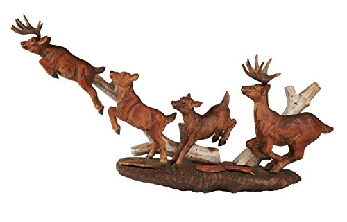 Atmosphere Leisure Wildlife Deer Running With Birch Tree Sculpture Figurine. Hand Carved & Made With 100% Solid Pine Wood. ()