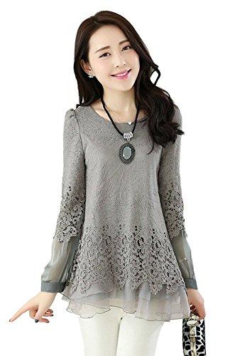 Angcoco Womens Korean Fashion Midi Pattern Sweet Long Sleeve Lace Chiffon - Epacket Tracking Uk