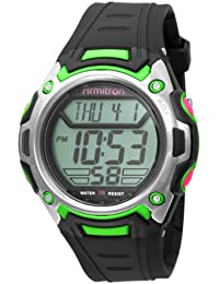 Men's 408152BKGN Chronograph Digital Black with Green Accents Watch