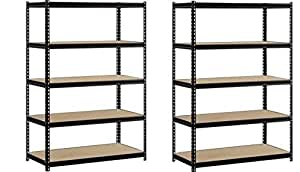 "EDSAL Heavy Duty Garage Shelf Steel Metal Storage 5 Level Adjustable Shelves Unit 72"" H x 48"" W x 24"" Deep (2 Pack)"