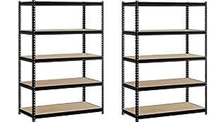 "EDSAL Heavy Duty Garage Shelf Steel Metal Storage 5 Level Adjustable Shelves Unit 72"" H x 48"" W x 24"" Deep (2 Pack)"