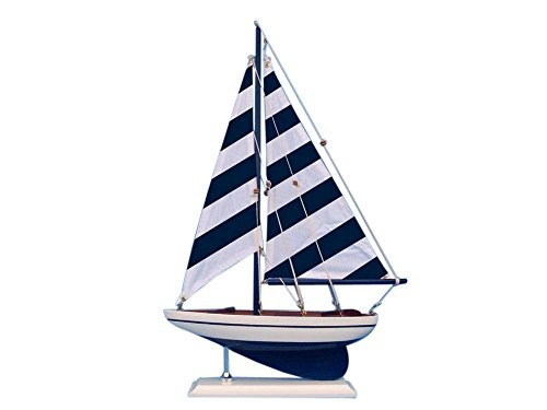 White Model Sailboat - Blue Striped Pacific Sailer 17