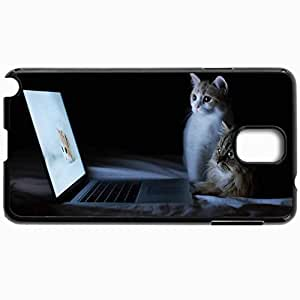 Customized Cellphone Case Back Cover For Samsung Galaxy Note 3, Protective Hardshell Case Personalized Cats Couple Laptop Lie Down Rest Curiosity Black