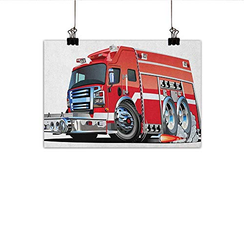 Littletonhome Cars Modern Oil Paintings Big Fire Truck with Emergency Equipments Universal Safety Rescue Team Engine Cartoon Canvas Wall Art 35