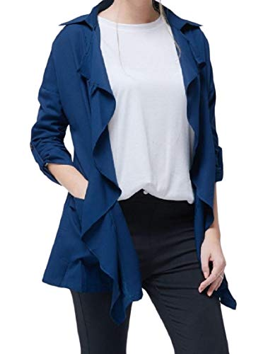Trench down Size Plus Women's Scuro Colletto Blu Pocket Manica Mogogo Lunga Turn aqB7gxwO