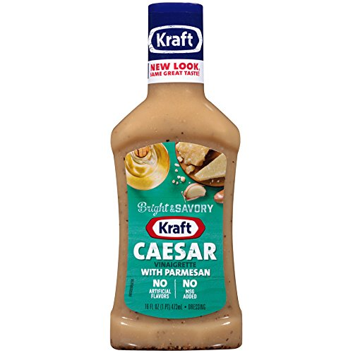 Kraft Caesar Vinaigrette with Parmesan Dressing & Marinade, 16-Ounce Plastic Bottles (Pack of -