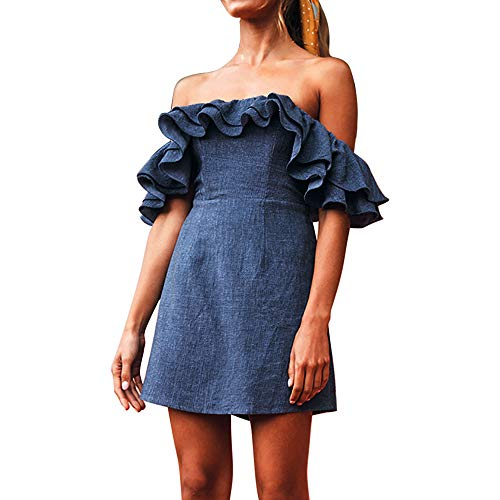 (♥ HebeTop ♥ Womens Fashion A-line Sexy Off Shoulder Tie Knot Puff Sleeve Buttons Jean Shirt Demin Flare Mini Dress)