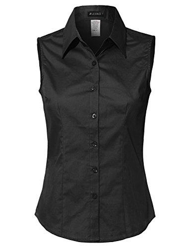 LE3NO Womens Lightweight Cotton Sleeveless Button Down Shirt, L3nwt691_black, XX-Large