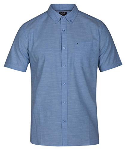 Hurley Men's One & Only 2.0 Short Sleeve Woven Blue Oxford Small ()