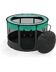 Meisterpet® puppyuitloop, opvouwbaar, voor honden en katten, voor binnen of buiten, meervoudige kleuren met gratis dierverzorgingsset