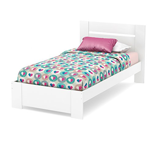 South Shore Reevo Bed & Headboard Set, Twin 39-inch, Pure White