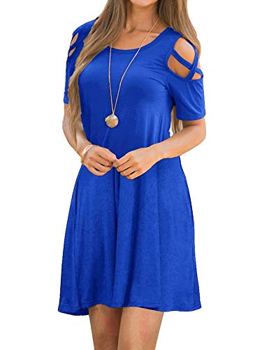 EZBELLE Women's Summer Cold Shoulder Dresses with Pockets Short Sleeve Loose Strappy T Shirt Swing Dress Royal Blue - Tunic Cotton Jewel Neck