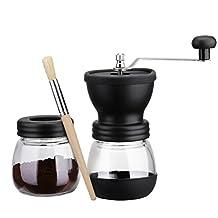 Coffee Grinder, Patec Manual Grinders,Storage Capacity 350 mL Ceramic Coffee Mill, Hand Coffee Bean Grinder Stainless Steel Handle Parts with Extra Storage Jar and Cleaning Brush