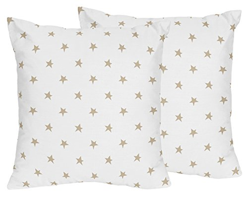 - Sweet Jojo Designs 2-Piece Gold and White Star Decorative Accent Throw Pillows for Celestial Collection by