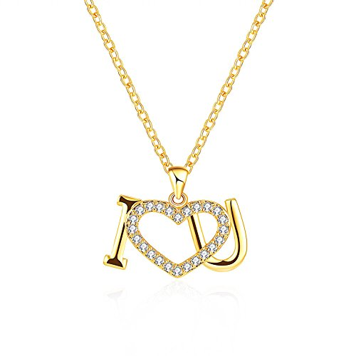 YELLOW CHIMES Express Your Feelings Collection 18K Gold Plated I Love You Pendant for Girls & Women