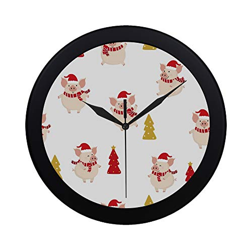THKDSC Modern Simple Cute Pig Red Winter Costume Christmas Pattern Wall Clock Indoor Non-Ticking Silent Quartz Quiet Sweep Movement Wall Clcok for Office,Bathroom,livingroom Decorative 9.65 Inch
