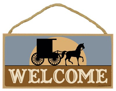 (SJT13001) Welcome (Amish Buggy And Horse With Sunrise) 5