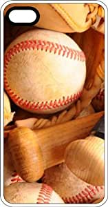 Baseball Bat Glove & Ball White Plastic Case for Apple iPhone 5 or iPhone 5s