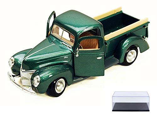 Motor Max Diecast Car & Display Case Package - 1940 Ford Pick Up Truck, Green 73234AC - 1/24 Scale Diecast Model Toy Car w/Display Case